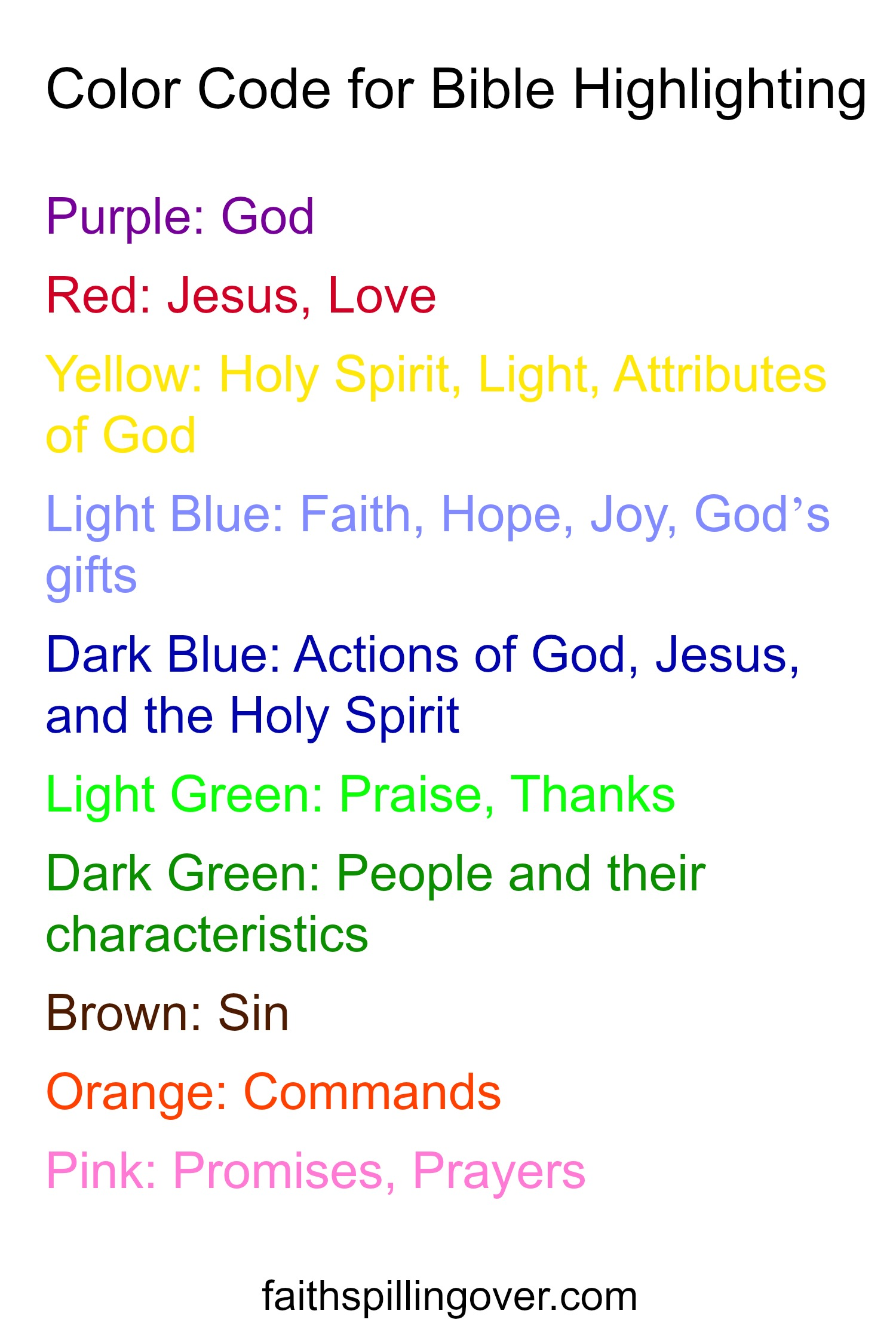 Words Powerful Bible Color Code For Bible Highlighting