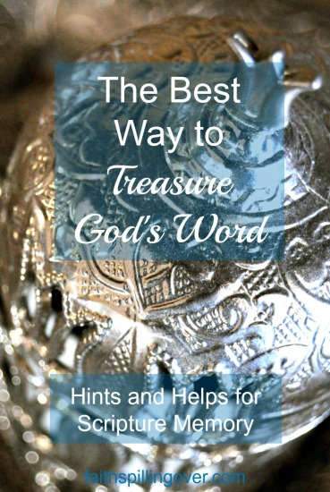 What better way to treasure God's words than to memorize them. Just 2 verses a month add up to 24 verses a year, and that's a powerful deposit of treasure into our hearts.